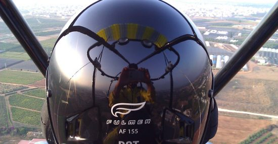 Nice pic from this morning. Panoramic view on a brand new helmet.